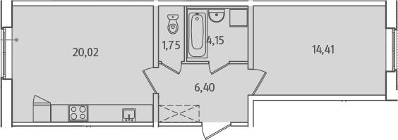 2-к.кв (евро), 46.73 м²