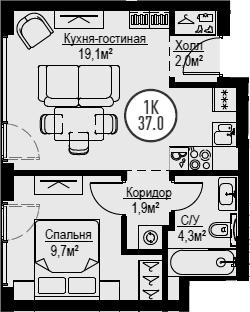 2Е-к.кв, 37 м²