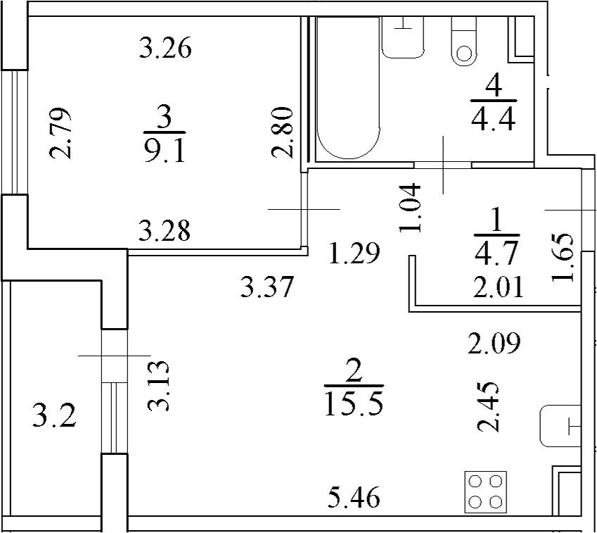 2Е-к.кв, 35.3 м²