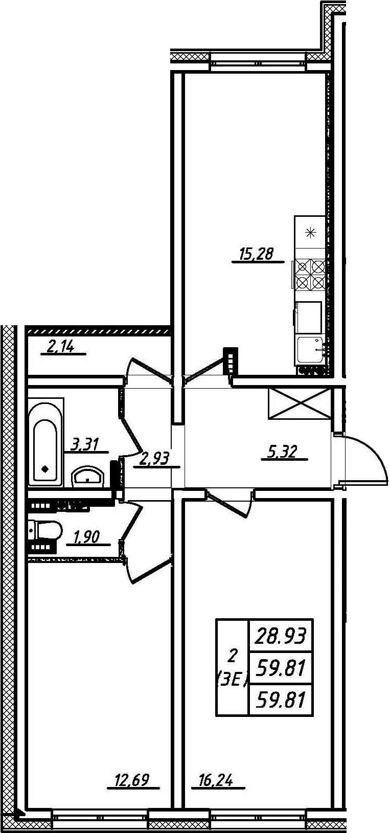 3Е-комнатная, 59.81 м²– 2