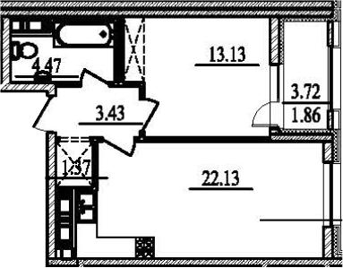 1-к.кв, 48.25 м²