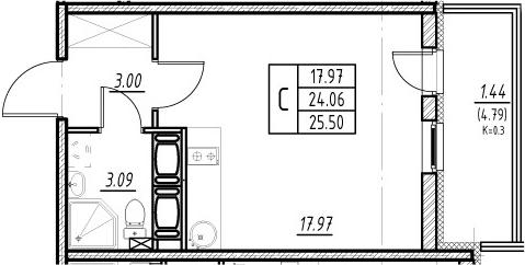 Студия, 24.06 м², 16 этаж