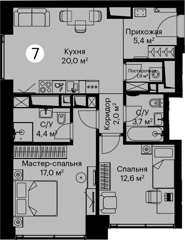 3Е-комнатная, 67 м²– 2