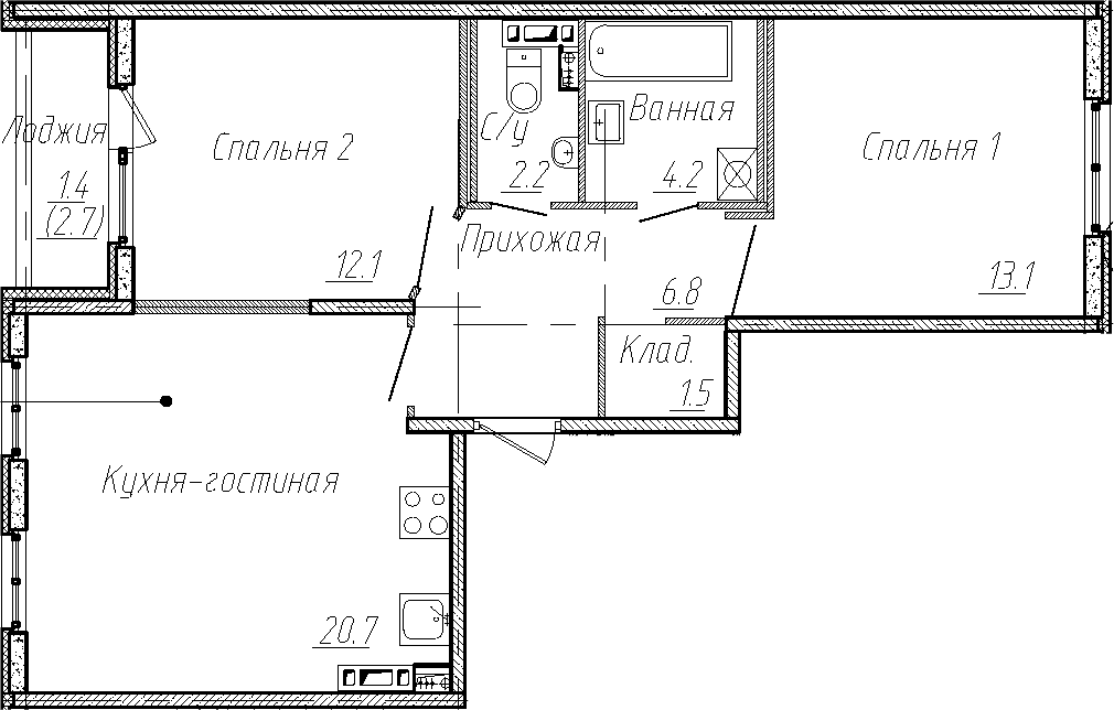 3Е-комнатная, 60.6 м²– 2