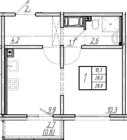2Е-комнатная квартира, 28.8 м², 18 этаж – Планировка