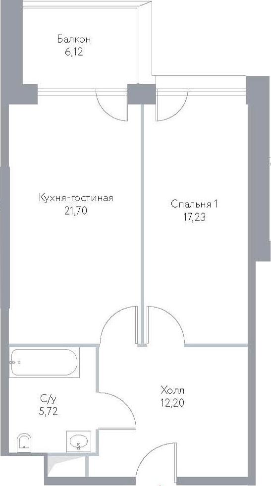 2Е-к.кв, 62.97 м², 13 этаж