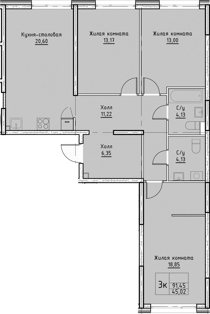 4Е-к.кв, 91.45 м²