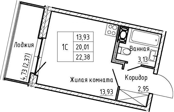 Студия, 22.38 м²