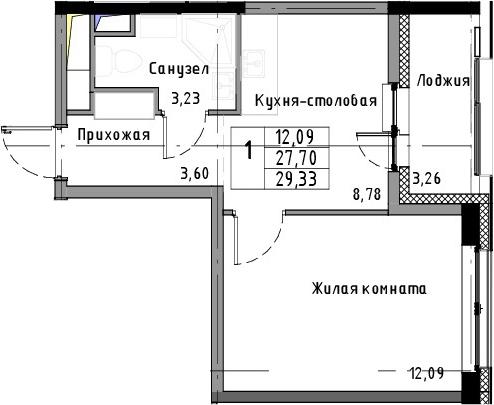 1-к.кв, 29.33 м²