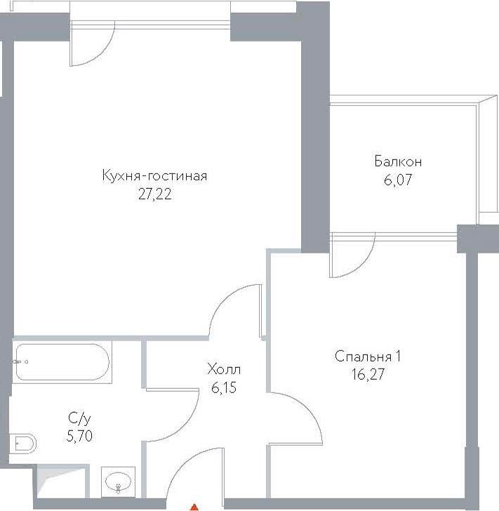 2Е-к.кв, 61.41 м², 6 этаж