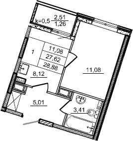 1-к.кв, 28.88 м²