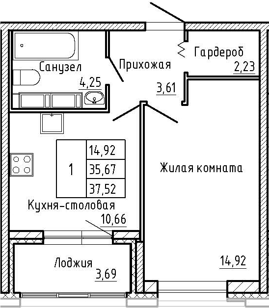 1-комнатная, 37.52 м²– 2