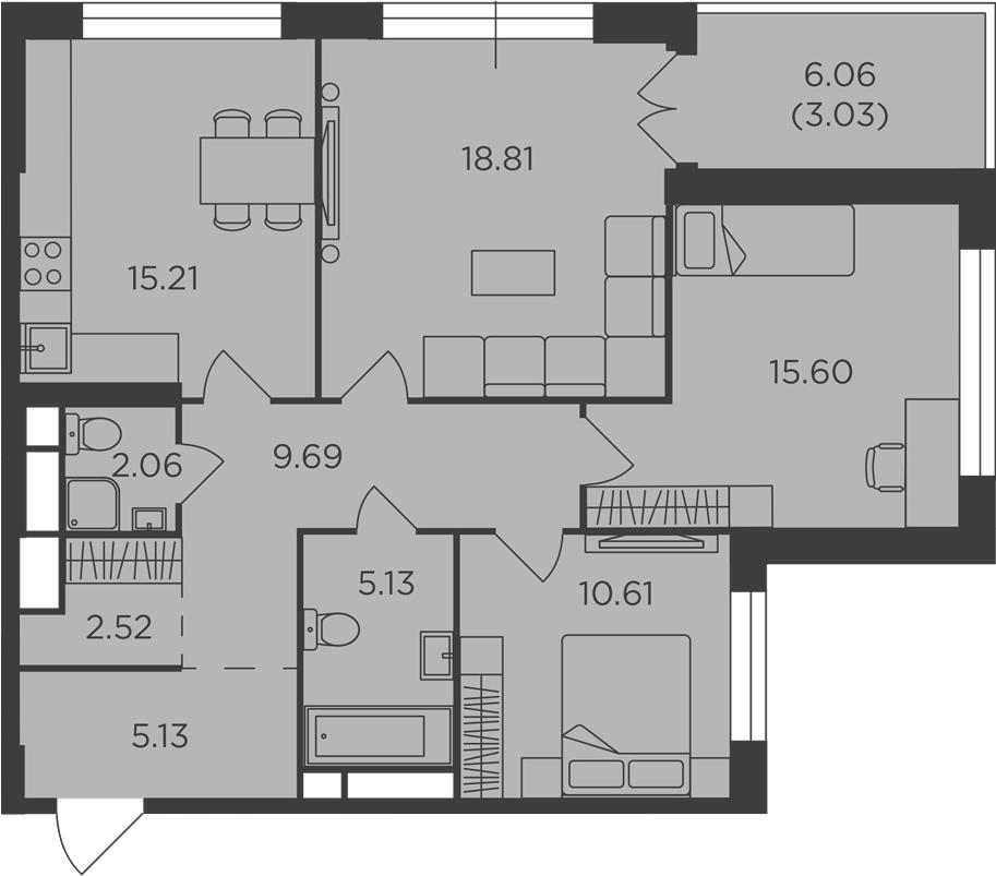 3-комнатная, 87.79 м²– 2