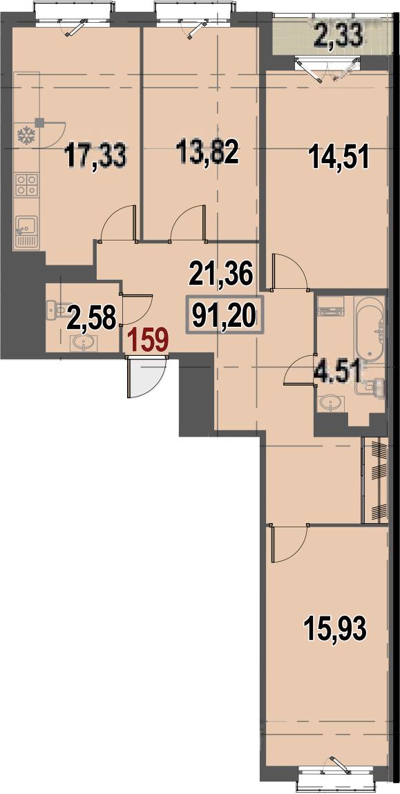 4-к.кв (евро), 92.36 м²