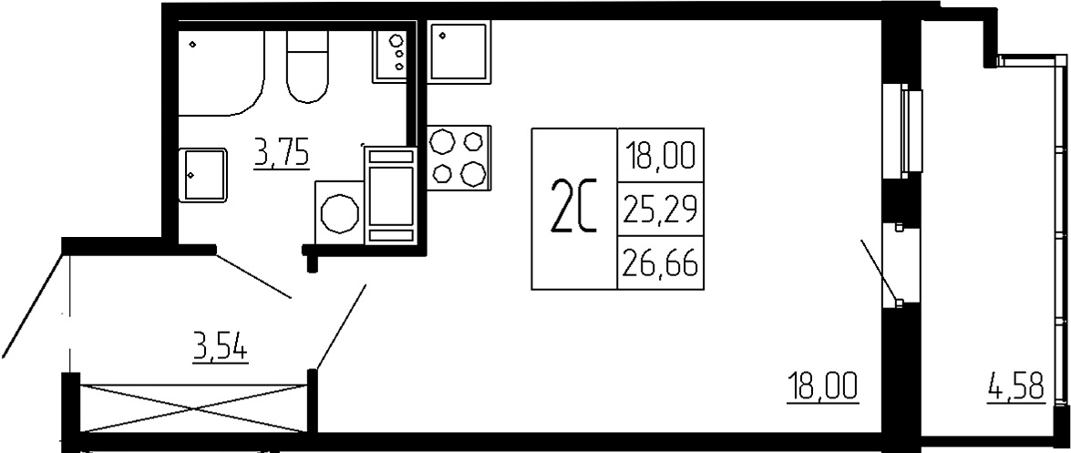 Студия, 25.29 м²– 2