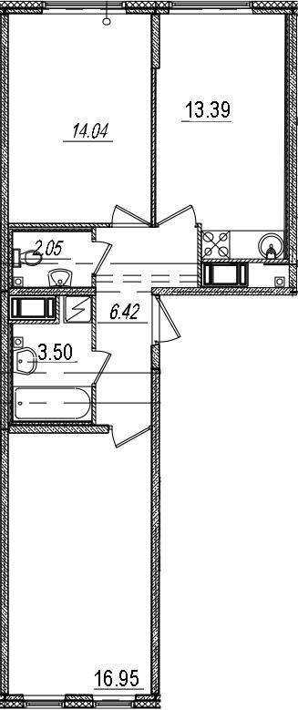 3Е-комнатная, 56.35 м²– 2