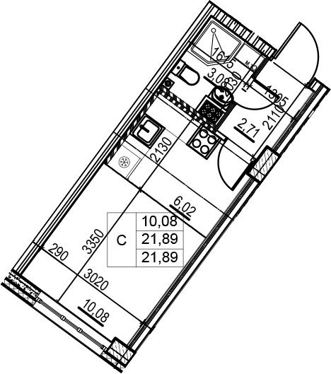 Студия, 21.89 м²– 2