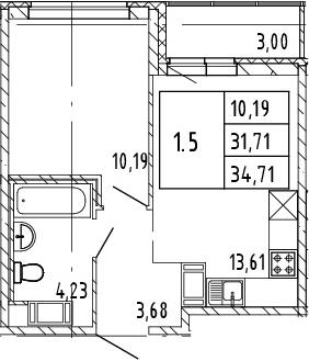 2Е-к.кв, 34.71 м²