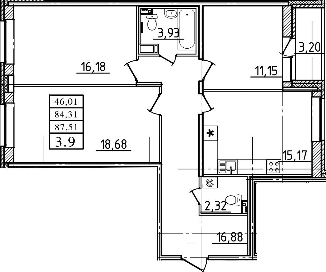3-к.кв, 87.51 м²