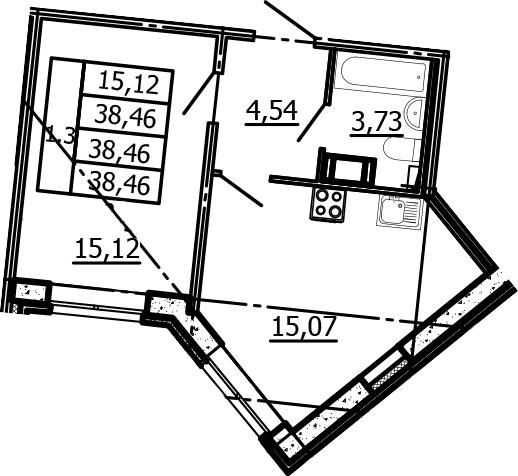 2Е-к.кв, 38.46 м²