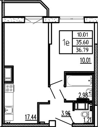 2-к.кв (евро), 37.98 м²