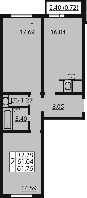 2-комнатная, 61.76 м²– 2