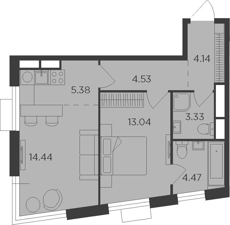 2Е-к.кв, 49.33 м², 23 этаж