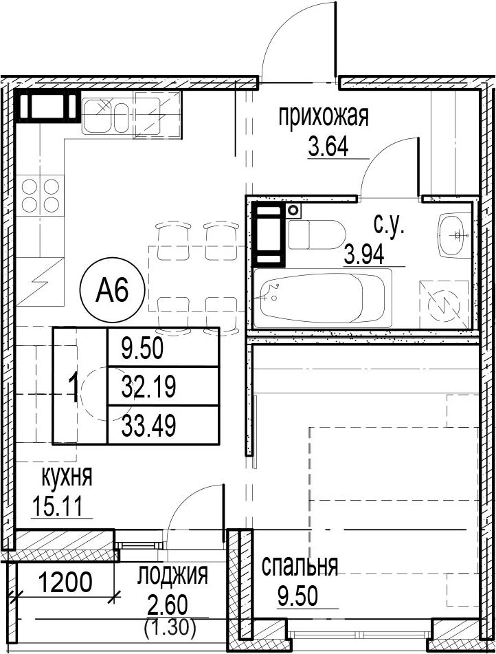 1-комнатная, 33.49 м²– 2