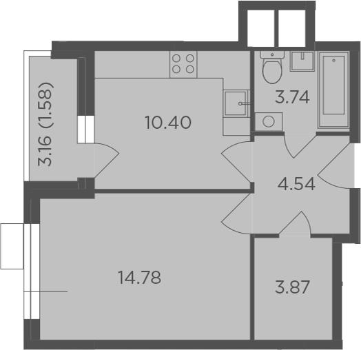 1-к.кв, 38.91 м²