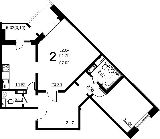 2-к.кв, 71.08 м²