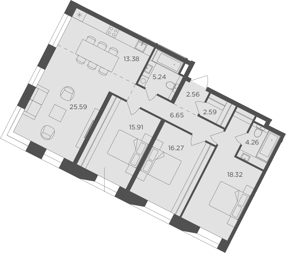 4Е-к.кв, 110.77 м², 6 этаж