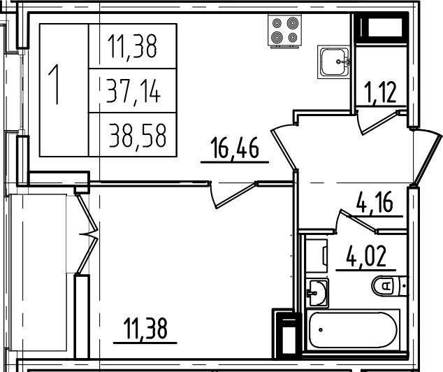 2Е-комнатная, 38.58 м²– 2