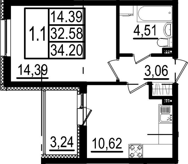 1-к.кв, 35.82 м²