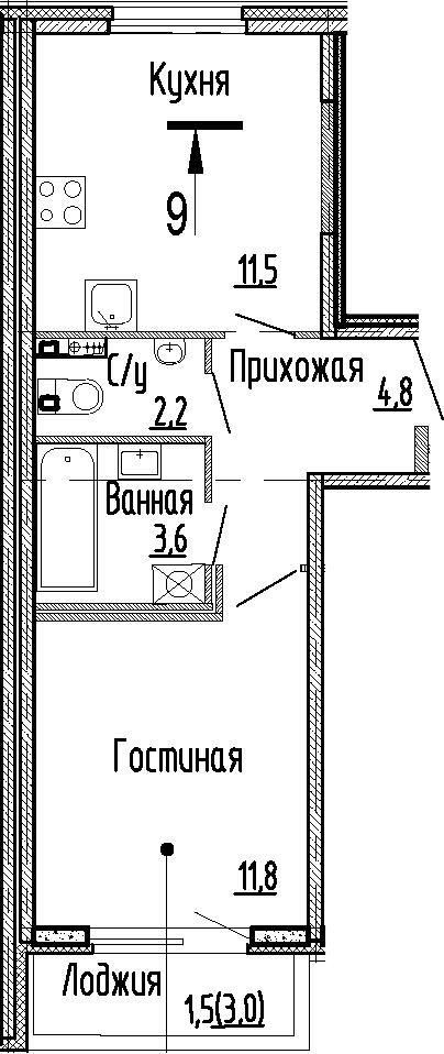 1-к.кв, 33.9 м², 1 этаж