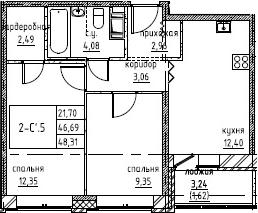 2-комнатная, 48.31 м²– 2