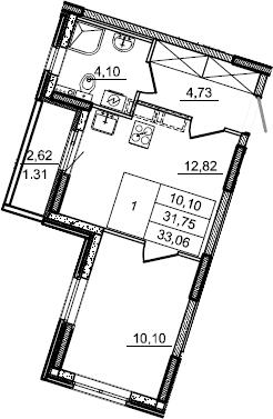 1-к.кв, 33.06 м², 2 этаж