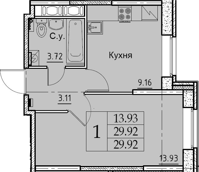 1-комнатная, 29.92 м²– 2