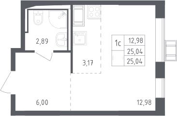 Студия, 25.04 м²