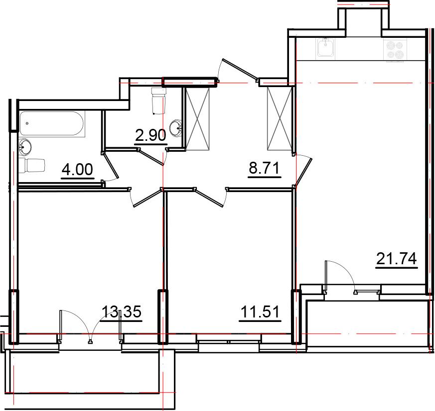 3-к.кв (евро), 75.8 м²