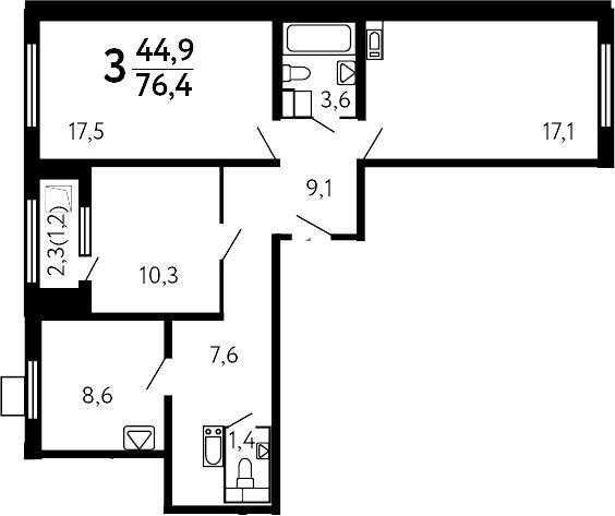 3-к.кв, 77.6 м²