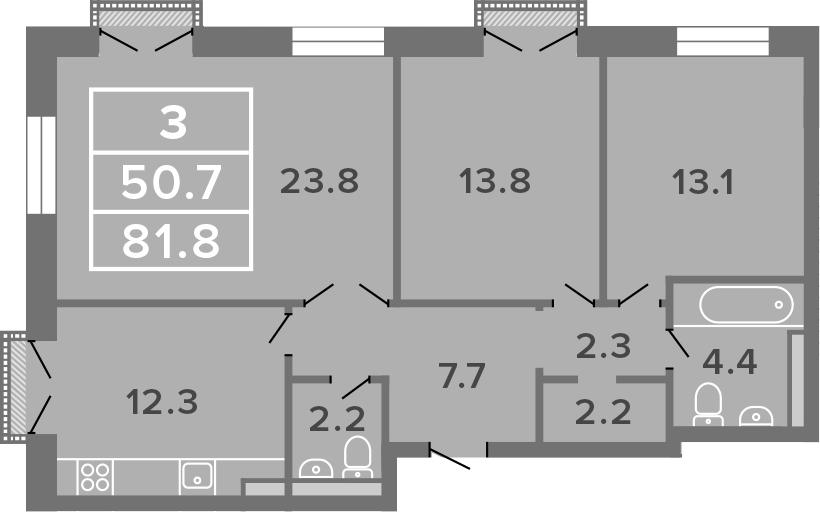 3-комнатная, 81.8 м²– 2