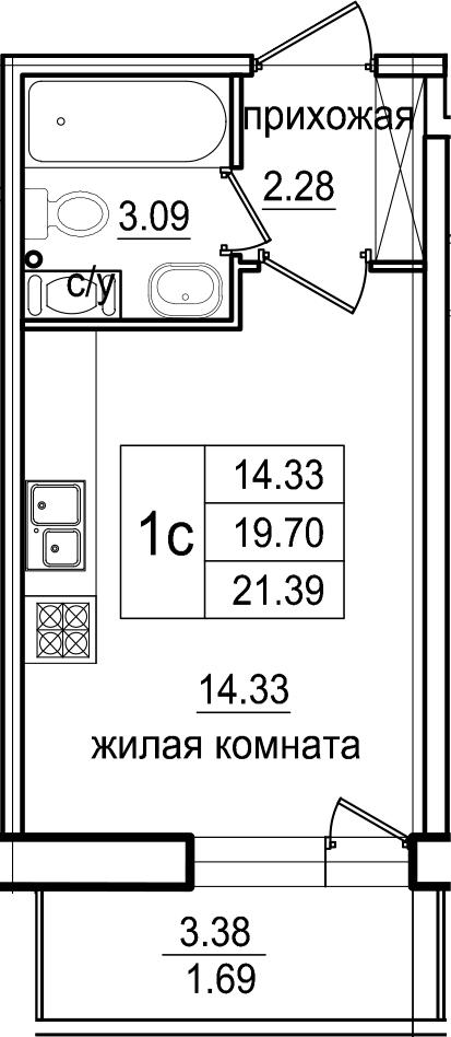 Студия, 23.08 м²