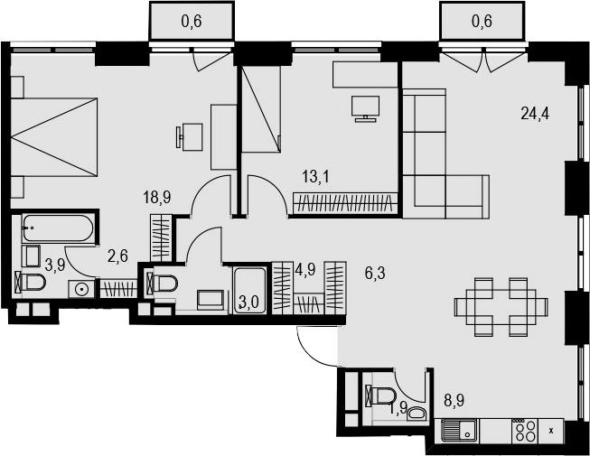 3-к.кв (евро), 91.9 м²
