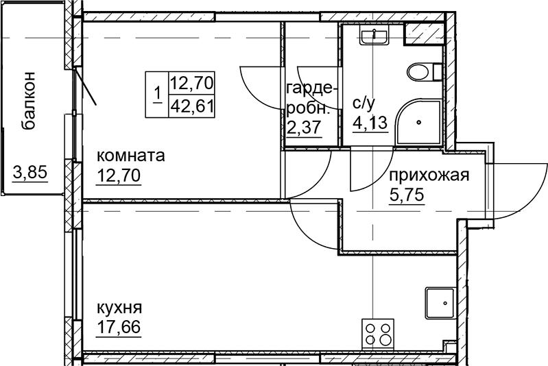 2Е-к.кв, 42.61 м²