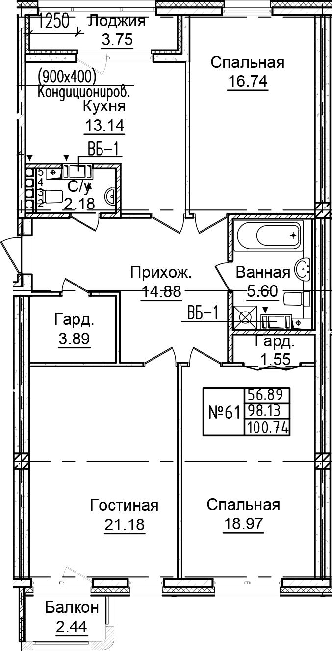 3-к.кв, 104.32 м²