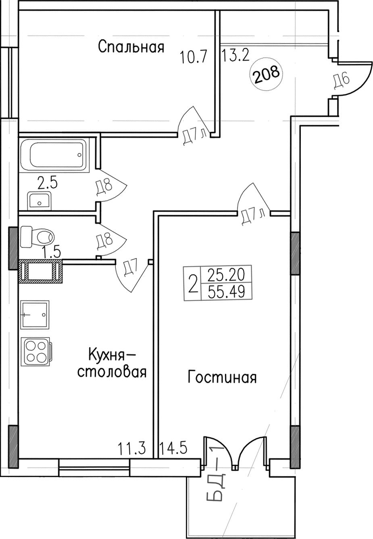 2-комнатная, 55.49 м²– 2