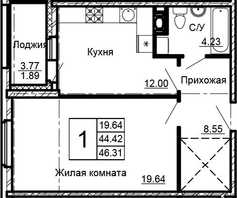 1-комнатная, 46.31 м²– 2