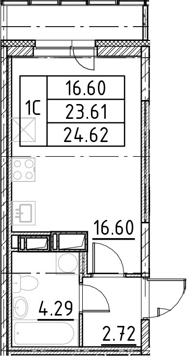 Студия, 26.98 м²