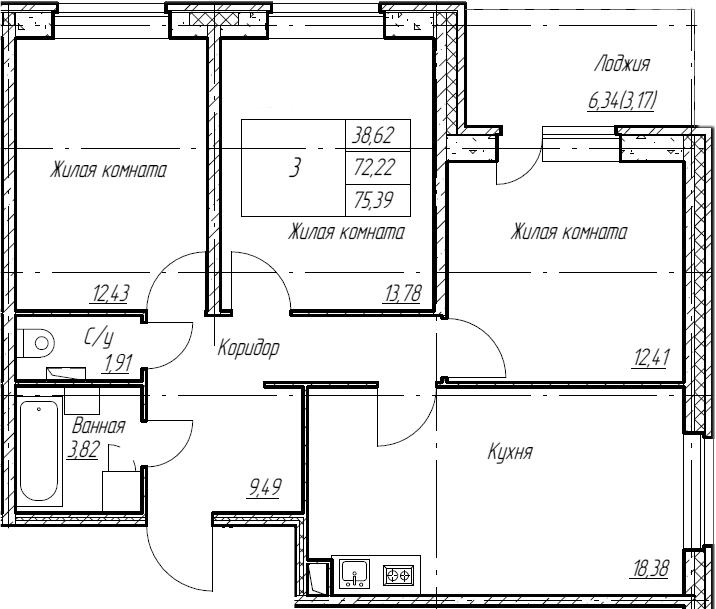 4Е-к.кв, 75.39 м², 2 этаж