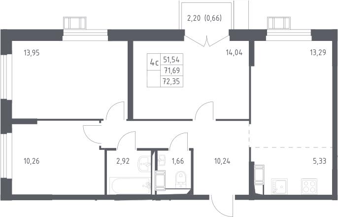 4Е-к.кв, 72.35 м², 15 этаж